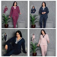 Damen Große Größen Pyjama Lang Viskose Schlafanzug 2-Teiler Set L-17