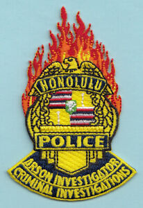Obsolete Police Sheriff Patch Hawaii Honolulu Arson Investigation Fire CID A17