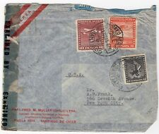 World War Ii Censored cover Chile with airmail stamps