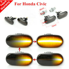 2x Smoked Dynamic Flowing LED Side Marker signal Light SET for Honda Civic 92-05
