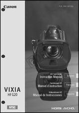 Canon VIXIA HF G20 Camcorder User Instruction Guide  Manual