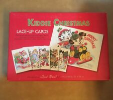 """6 Kiddie Christmas Greeting Cards Lace Up 998-20 Interactive 8.25"""" X 5.75"""" NEW"""