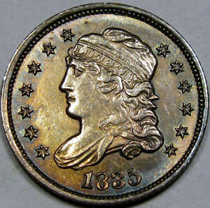 1835 Capped Bust Half Dime Super Choice BU MS++...Awesome Old Album Toning, NICE