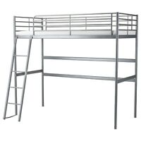 Used Ikea Svarta bunk bed Loft bed frame, silver-colour, no mattress,