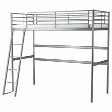 Used Ikea Svarta bunk bed Loft bed frame, silver-colour, no mattress,