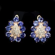 Ohrringe Tansanit & CZ 925 Silber 585 Roségold vergoldet