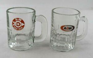 "VTG Small A&W Root Beer Lot of 2 Logo 3"" Tall Heavy Glass Mug Mini Shot Glass"