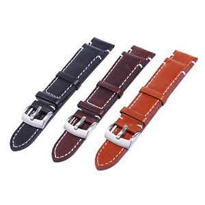 Gents Genuine Handmade Leather Watch Band Strap + Spring Bars 18-22 mm 3 colours