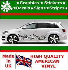 New 2 x Stripes Flowers Butterfly Side Car Stickers Vinyl Car Decals Graphics