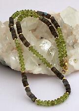PERIDOTO LABRADORITA Cadena Plata 925 Cadena de piedras preciosas Gris Verde