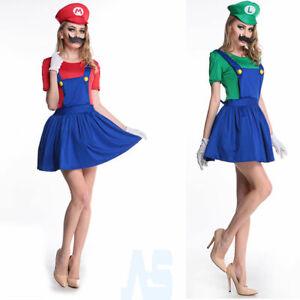 2020 Sexy Ladies Super Mario Luigi Costume Women Hen Party Halloween Fancy Dress