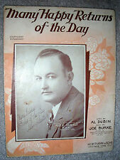 1931 MANY HAPPY RETURNS OF THE DAY Sheet Music ALLEN DANIELS by Dubin, Burke
