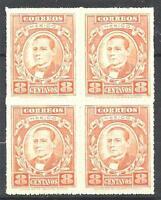 Mexico 1926 Sc# 666 set Benito Juarez ruletted  block 4 MNH