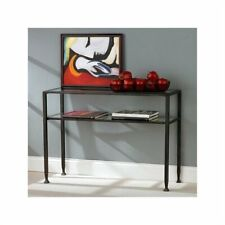 Pemberly Row Black Sofa Table with Glass Top