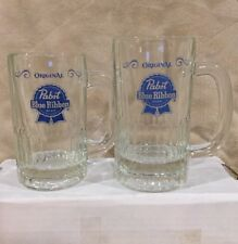 VTG Lot of 2 Pabst Blue Ribbon PBR Glass Beer Mugs Cup Stein Milwaukee Wisconsin