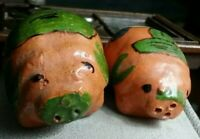 Vintage clay TWO PIGS salt and pepper shakers set made in Mexico