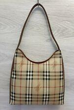 Auth Vintage Burberry Haymarket Shoulder Bag PVC Hobo Nova Check Brown Leather