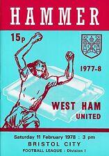 Football Programme>WEST HAM UNITED v BRISTOL CITY Feb 1978