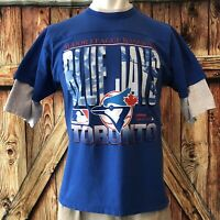 Toronto Blue Jays Men's XL Tshirt Blue Vintage 90's MLB 1993 Chalk Line Baseball