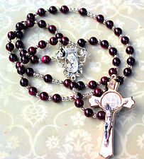 Garnet Gemstone Rosary with Silver Crucifix, Free Shipping