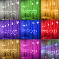 LED Heart-shaped Hanging Curtain Lights String Net Xmas Home Party Home Decor UK