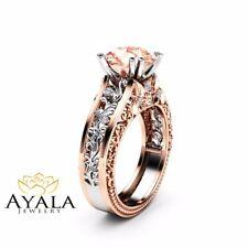 2 Carat Morganite Engagement Ring 14K 2 Tone Gold Ring Art Deco Engagement Ring