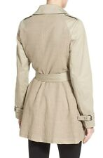 Tahari Taupe Eyelet Fit And Flare Trench Coat 100% cotton sz XL new