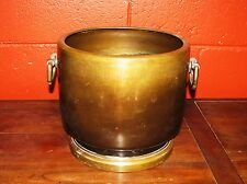 Antique Hibachi fire holder 1880s hand made bronze Japan craft Meiji