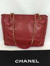 "Vintage Chanel 10"" Tote Red Quilted Lambskin Chain Handle Italy Gold Tone"