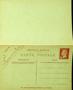 FRANCE UNUSED 60c PASTEUR POSTAL STATIONERY REPLY CARD
