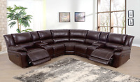 NEW Brown Leather 2-Seater Recliner Sectional w/ 4 Cupholder & 2 Console Storage