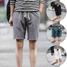 Men Casual Drawstring Gym Sports Shorts Cotton Linen Summer Beach Short Pant