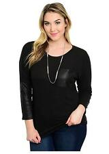 16-20 Plus Size Black Gothic PU Long Sleeve Soft Extra Fine Knitted Jumper Top 20