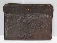 Antique Dark Brown Deep Reptilian Textured Leather Portfolio Case w/Zippers(#18)