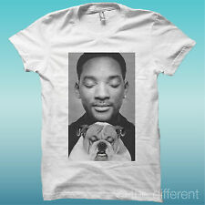 """T-SHIRT """" WILL SMITH CON CANE DOG """" BIANCO THE HAPPINESS IS HAVE MY T-SHIRT NEW"""