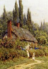 Helen Allingham - Thatched Cottage West Horsley Surrey   - 24'  CANVAS