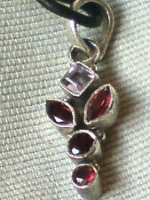 """STERLING SILVER 1"""".PENDANT with AMETHYST & GARNET STONESon a18""""THONG £10.95 NWT"""