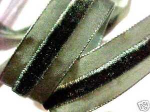"""Taffeta Velvet 1"""" Center Fern Green Stripe with Lip Trim 1yd Made in France"""
