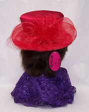 Ladies Red Satin Covered Straw Hat w/Horsehair & Netting Accents (One Size)