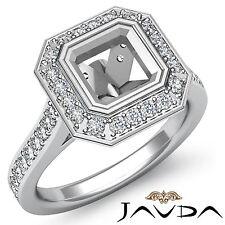 Halo Diamond Engagement VS1-VS2 Ring Platinum 950 Asscher Shape Semi Mount 0.5Ct