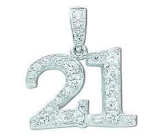 21st Birthday Pendant Solid Sterling Silver Necklace and Chain Rhodium Plated