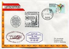 1993 Luftschiffpost n. 3 Pro Juventute Dirigibile HB-BWA Pestalozzi Aspern ONU