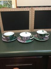 Lot Of 3 Sets Fringe Studio Ppd Bone China And Porcelain Cups And Saucers.