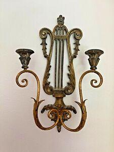 Vintage PALLADIO Italian Wall Sconce gold Giltwood Harp Design Wall