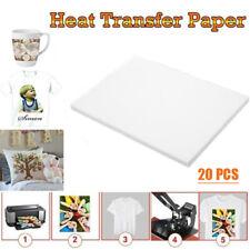 20x A4 Iron On Inkjet Print Heat Press Transfer Paper Light Fabric T-Shirt Cloth