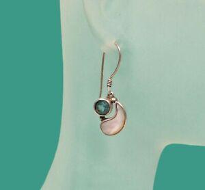 Topaz /& Amethyst Antique Polished 925 Sterling Silver Earrings SE01-1003