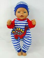"""Dolls clothes for 17"""" BABY BORN/16"""" CPK BOY DOLL~RED DINOSAUR~JUMPSUIT~HAT"""