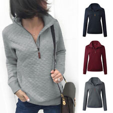 Women Pullover Pockets Long Sleeve Sweatshirt Pull Over Stand Up V Neck Hem  hot