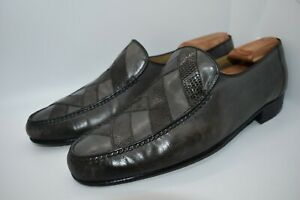 Bruno Magli Grey Reptile & Leather Handmade Slip-On Round Toe Loafers 11M US