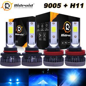 4PCS Combo 9005+H11 ICE BLUE 8000K LED Headlight Bulbs Kit 3200W High Low Beam